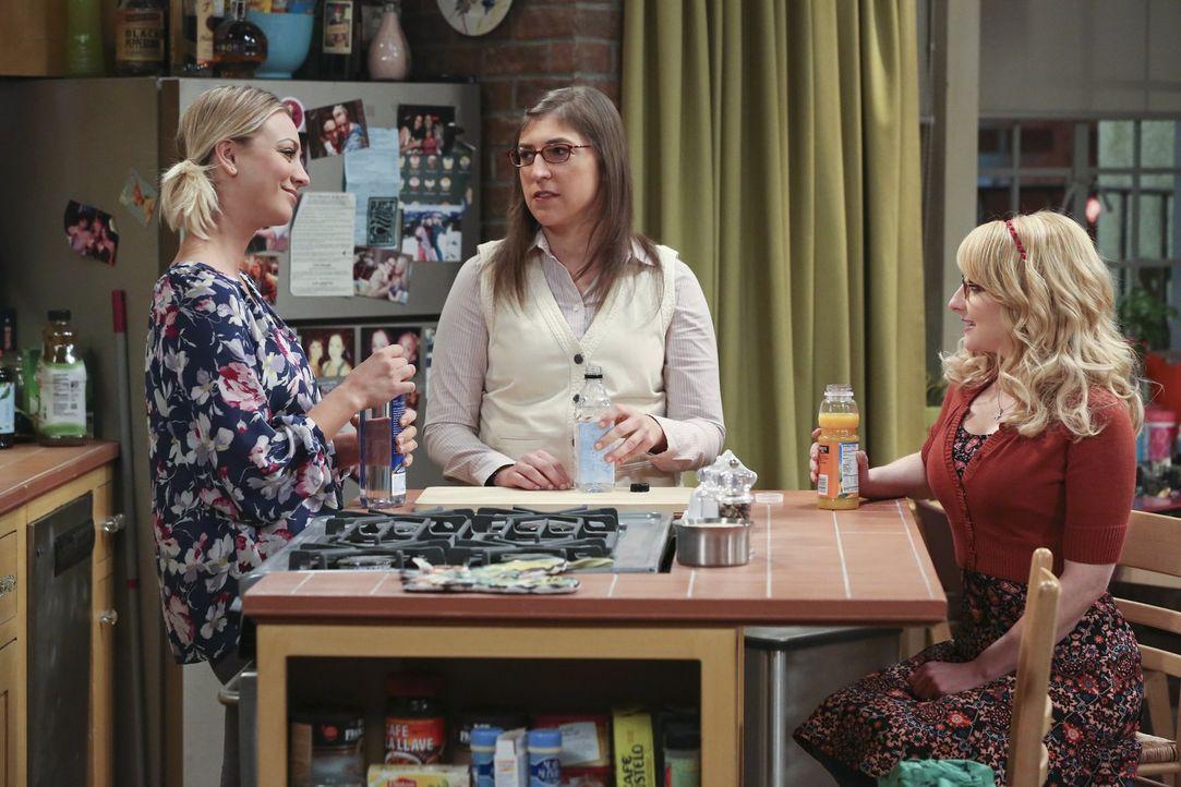 Penny (Kaley Cuoco, l.), Amy (Mayim Bialik, M.) und Bernadette (Melissa Rauch, r.) wollen Raj dabei helfen, endgültig mit der Beziehung zu seiner Ex... - Bildquelle: 2016 Warner Brothers