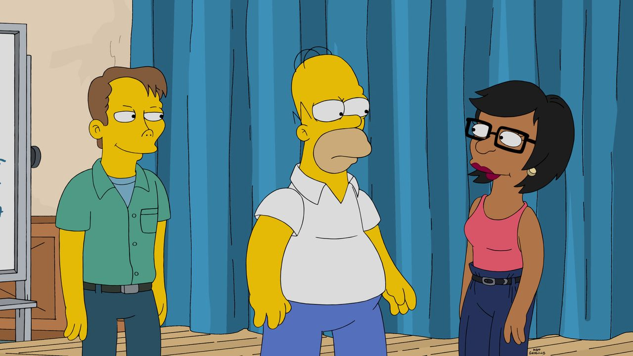 Homer (M.) hat bei einer Rede im Kernkraftwerk versagt und nun eine Phobie, vor Publikum zu sprechen. Um ihn aufzuheitern, nimmt Marge ihn in Improv... - Bildquelle: 2015 Fox and its related entities.  All rights reserved.
