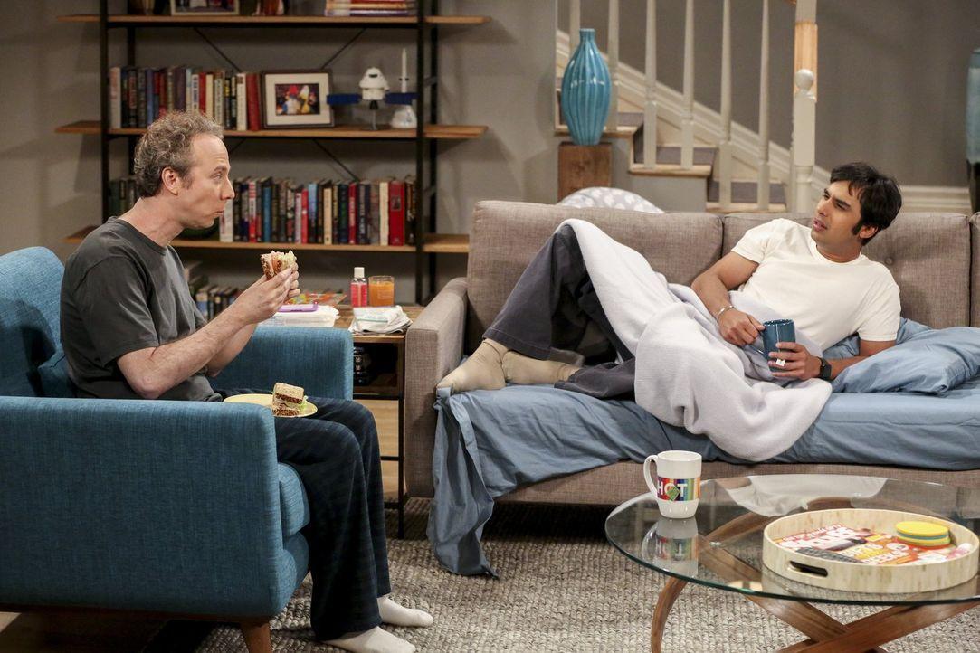 Was haben sich Howard und Bernadette da bloß eingebrockt? Müssen sie neben dem Schnorrer Stuart (Kevin Sussman, l.) jetzt auch noch Raj (Kunal Nayya... - Bildquelle: 2016 Warner Brothers