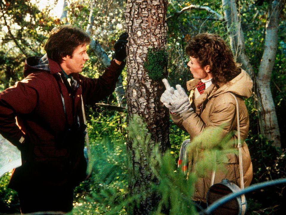 Amanda (Kate Jackson, r.) und Lee (Bruce Boxleitner, l.) suchen eine verlassene Jagdhütte, in der sich der Doppelagent Rudolph aufhalten soll. - Bildquelle: CBS Television