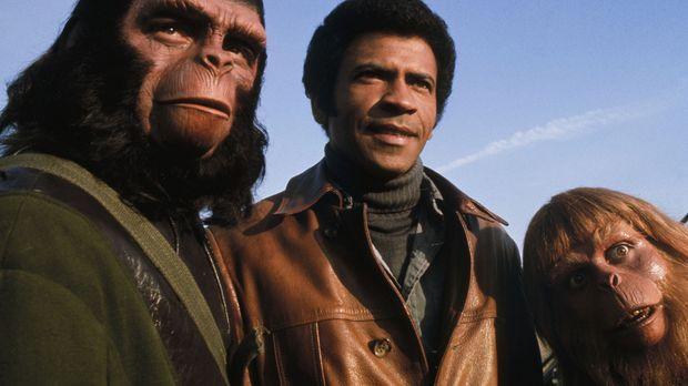 Während sich Caesar (Roddy McDowall, l.) mit Berater Virgil (Paul Williams, r...