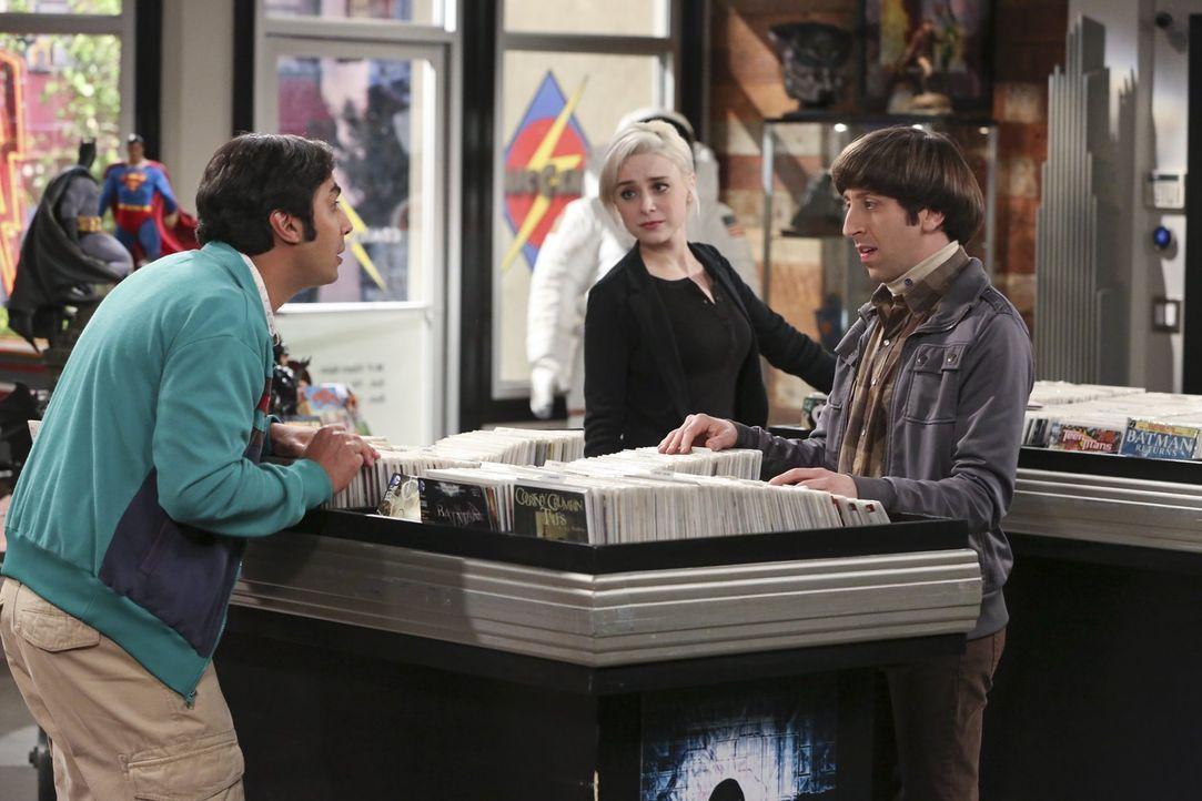Als Raj (Kunal Nayyar, l.) und Howard (Simon Helberg, r.) im Comicbuchladen die hübsche Claire (Alessandra Torresani, M.) kennenlernen, lässt das, R... - Bildquelle: 2015 Warner Brothers