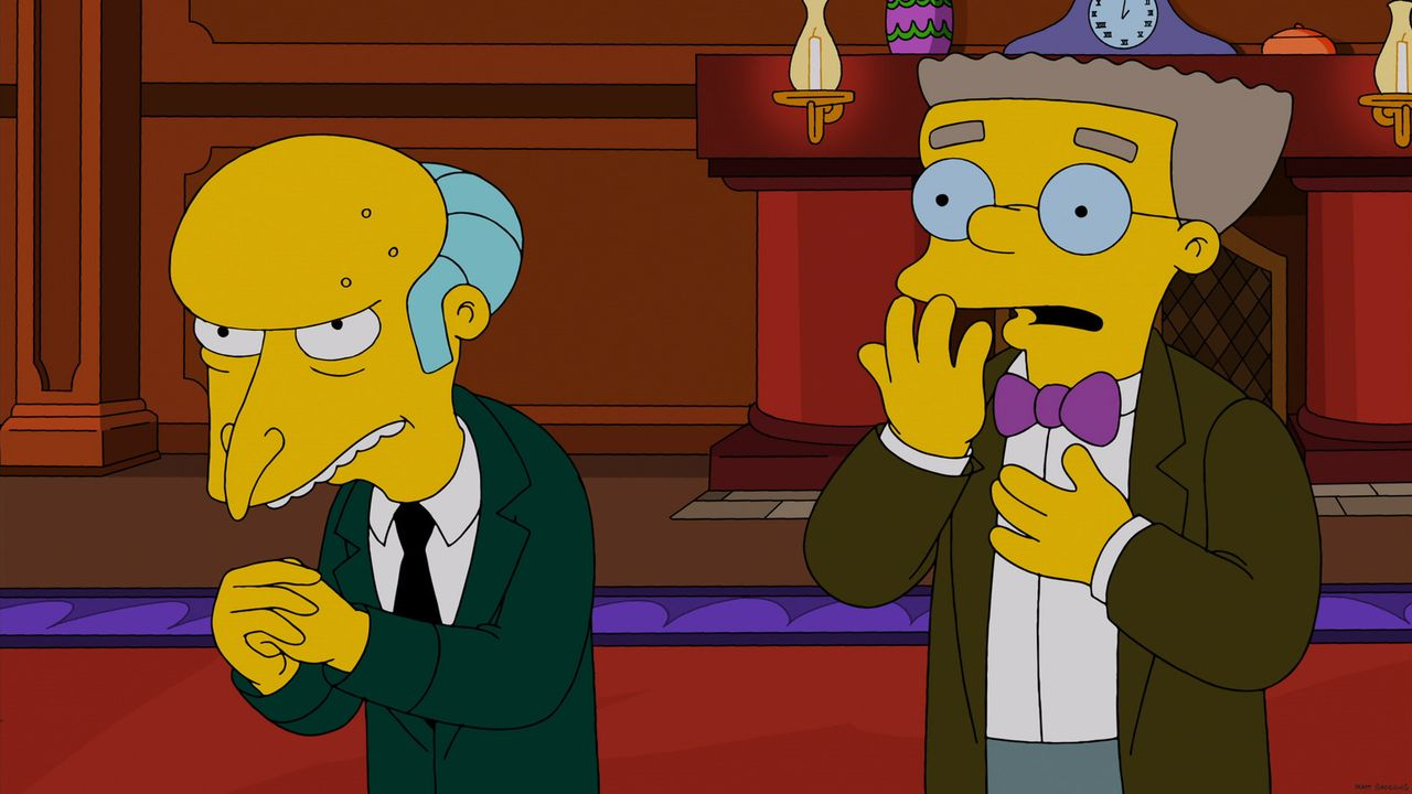 Mr. Burns (l.) schenkt seinen Mitarbeitern zu Weihnachten eine hypermoderne Datenbrille, allerdings nicht ohne Hintergedanken. Ob sein Assistent Way... - Bildquelle: 2013 Twentieth Century Fox Film Corporation. All rights reserved.