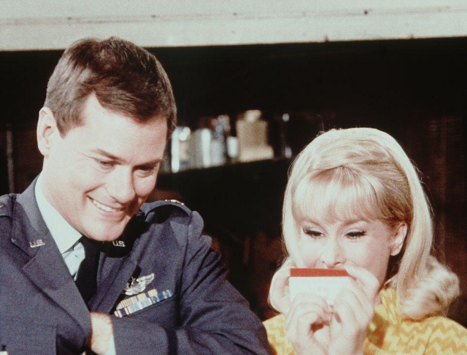 Obwohl Jeannie (Barbara Eden, r.) und Tony (Larry Hagman, l.) Dr. Bellows vorgeschwindelt haben, auf eine Jagdpartie zu gehen, nehmen sie an Rogers... - Bildquelle: Columbia Pictures