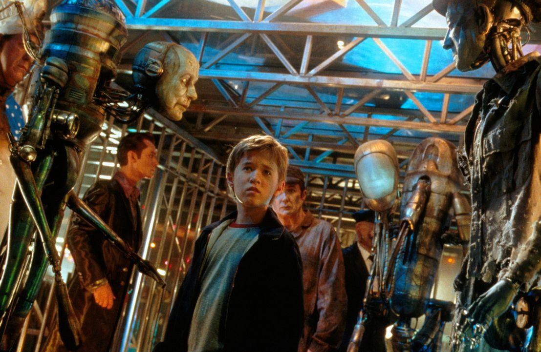 Eines Tages muss der kleine Roboter David (Haley Joel Osment, M.) erkennen, dass er der Einzige seiner Art ist, der lieben kann und muss, denn er is... - Bildquelle: David James TM &   2001 Warner Bros. and Dreamworks, LLC. (ALL RIGHTS RESERVED)