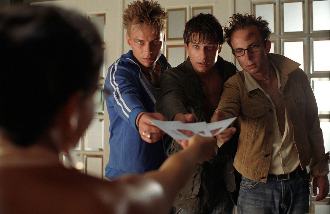 Eigentlich wollten Ben (Kristian Erik Kiehling, 2.v.r.), Felix (Thomas Wlaschiha, 2.v.l.) und Nick (Michael Krabbe, r.) auf Ibiza die Sau raus lasse... - Bildquelle: Concorde Filmverleih GmbH