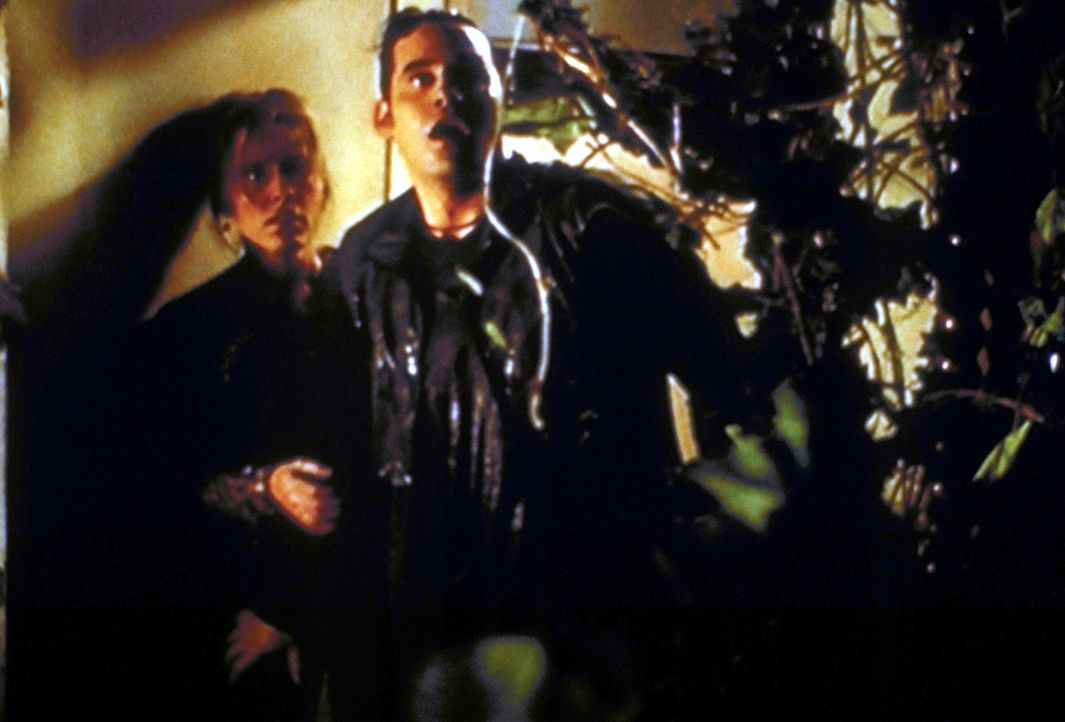 Xander (Nicholas Brendon, r.) und Anya (Emma Caulfield) werden von unsichtbaren Geistern durch einen Dschungel gejagt. - Bildquelle: TM +   2000 Twentieth Century Fox Film Corporation. All Rights Reserved.