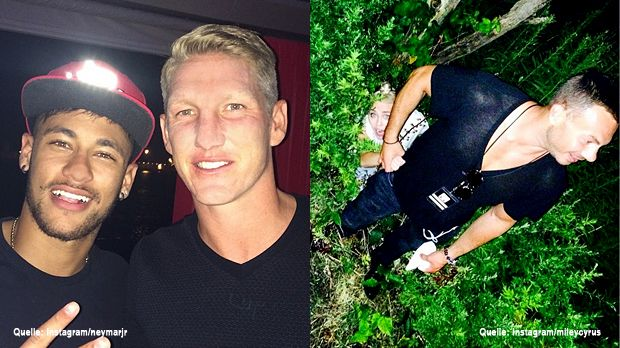 TopFlop-Neymar-Bastian-Schweinsteiger-Instagram-neymarjr-Miley-Cyrus-Instagram-mileycyrus - Bildquelle: Instagram/neymarjr, Instagram/mileycyrus