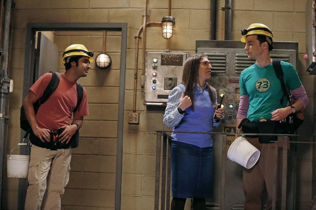 Während Penny und Leonard aneinander geraten, bringt Amy (Mayim Bialik, M.) Sheldon (Jim Parsons, r.) und Raj (Kunal Nayyar, l.) zu ihrer Forschungs... - Bildquelle: Warner Brothers