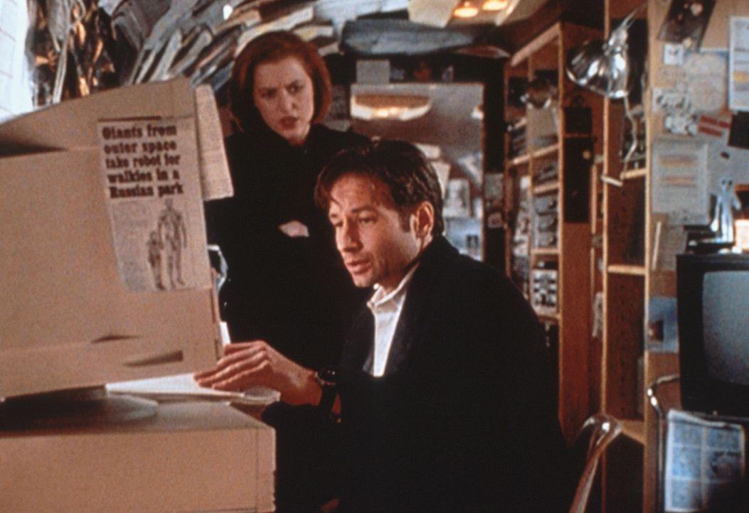 Scully (Gillian Anderson, l.) und Mulder (David Duchovny, r.) sichten ein  Videoband, das bedeutend mehr Licht in die Angelegenheit bringt, die sie... - Bildquelle: TM +   2000 Twentieth Century Fox Film Corporation. All Rights Reserved.