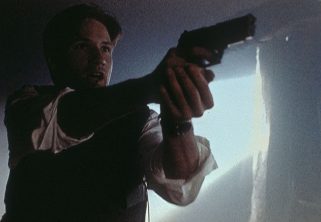Mulder (David Duchovny) versucht, die Männer der Peacock-Familie mit seiner Waffe in Schach zu halten. - Bildquelle: TM +   2000 Twentieth Century Fox Film Corporation. All Rights Reserved.
