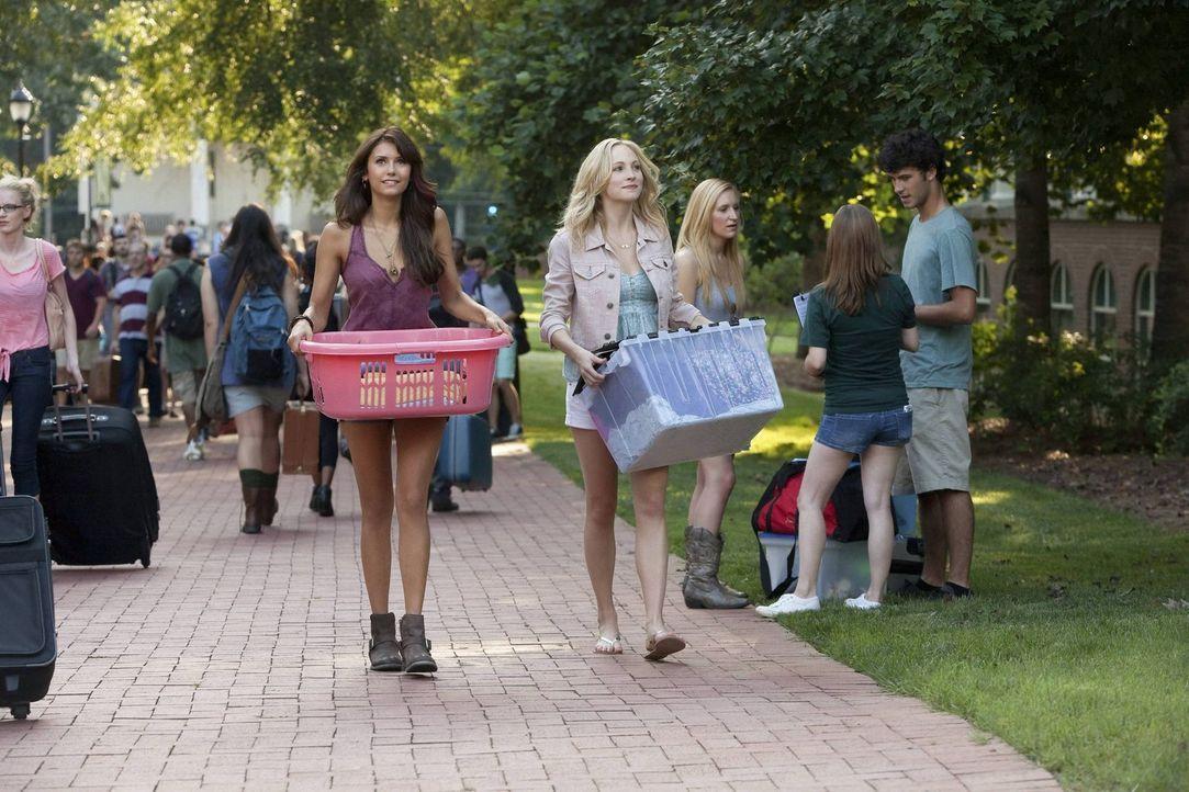 Für Elena (Nina Dobrev, l.) und Caroline (Candice Accola, r.) beginnt das College anders als erwartet ... - Bildquelle: Warner Brothers