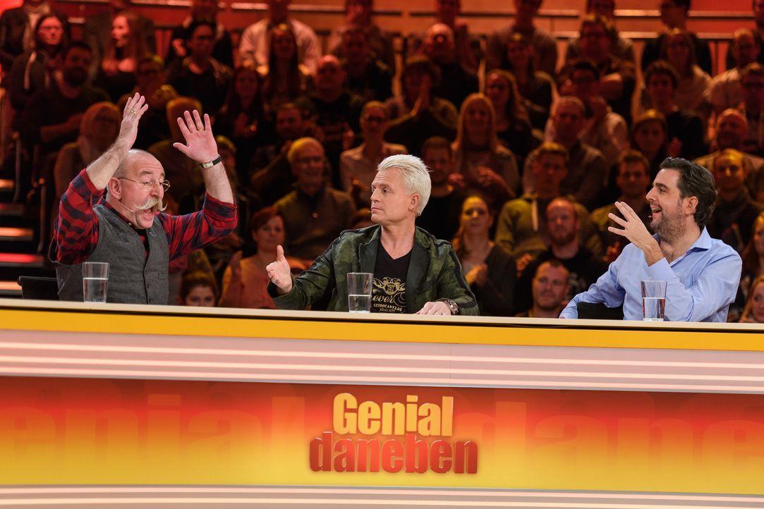 Stellen sich den genialen Fragen der Zuschauer und lassen nicht locker: (v.l.n.r.) Horst Lichter, Guido Cantz und Bastian Pastewka ... - Bildquelle: Willi Weber SAT.1