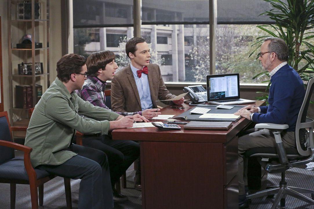 Leonard (Johnny Galecki, l.), Howard (Simon Helberg, 2.v.l.) und Sheldon (Jim Parsons, 3.v.l.) können nicht fassen, dass Tim (Jim Holmes, r.) und di... - Bildquelle: 2016 Warner Brothers