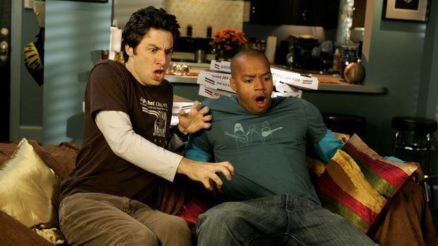 J.D. (Zach Braff, l.) und Turk (Donald Faison, r.) bekommen es mit der Angst...