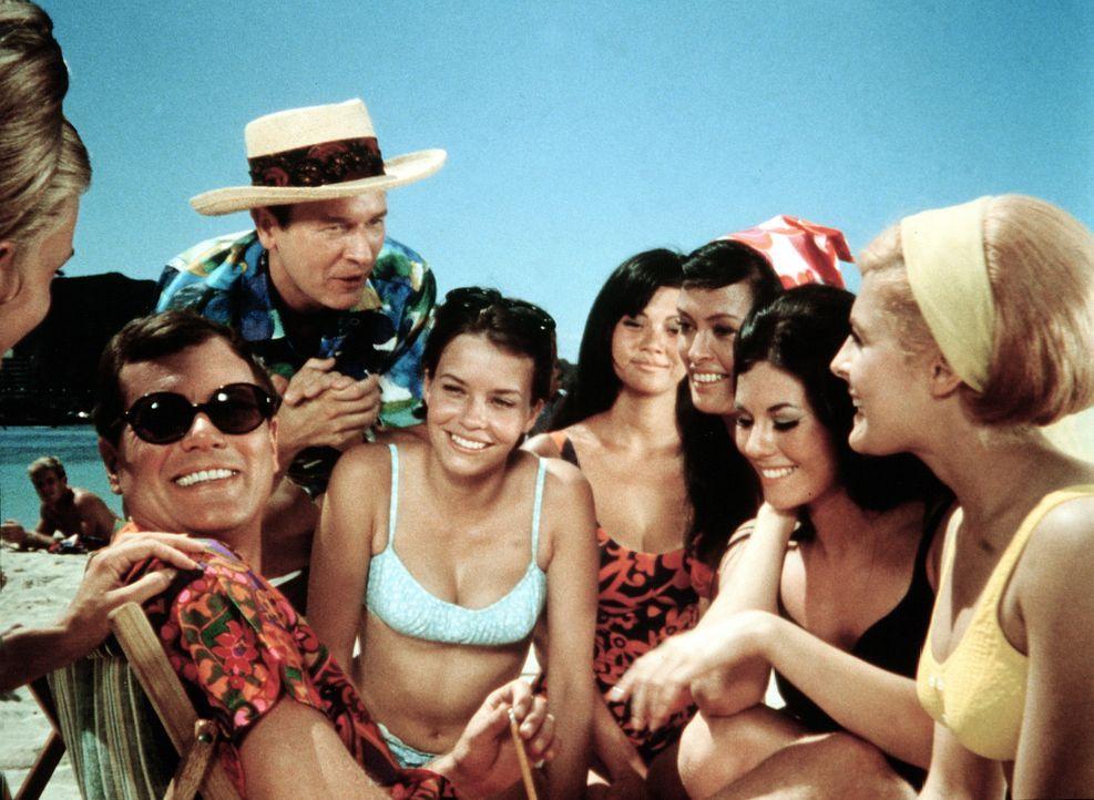 Die Astronauten Tony (Larry Hagman, 2.v.l.) und Roger (Bill Daily, 3.v.l.) vergnügen sich am Strand von Honolulu unter anderen mit der schönen Gener... - Bildquelle: Columbia Pictures