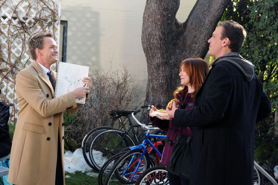 Während Barney (Neil Patrick Harris, l.) wegen eines Jinx nicht sprechen darf, treffen Marshall (Jason Segel, r.) und Lily (Alyson Hannigan, M.) auf... - Bildquelle: 2012 Twentieth Century Fox Film Corporation. All rights reserved.