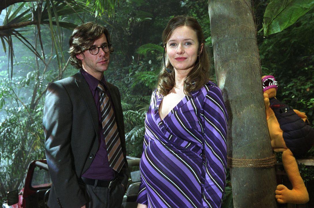 Dominik (Markus Meyer, l.) ist plötzlich aufgetaucht und sieht Nina (Stefanie Stappenbeck, r.) mit ihrem Schwangerschaftsbauch. Jetzt muss sie ihm... - Bildquelle: Katrin Knoke Sat.1