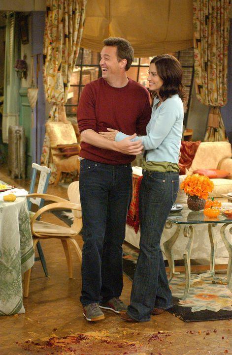 Können ihr Glück kaum fassen: Monica (Courteney Cox, r.) und Chandler (Matthew Perry, l.) ... - Bildquelle: 2003 Warner Brothers International Television