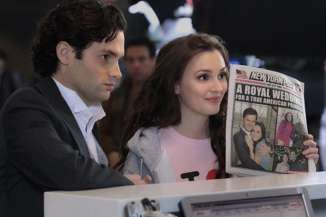 Fliehen gemeinsam vom Hochzeitsempfang: Blair (Leighton Meester, r.) und Dan (Penn Badgley, l.) ... - Bildquelle: Warner Bros. Television