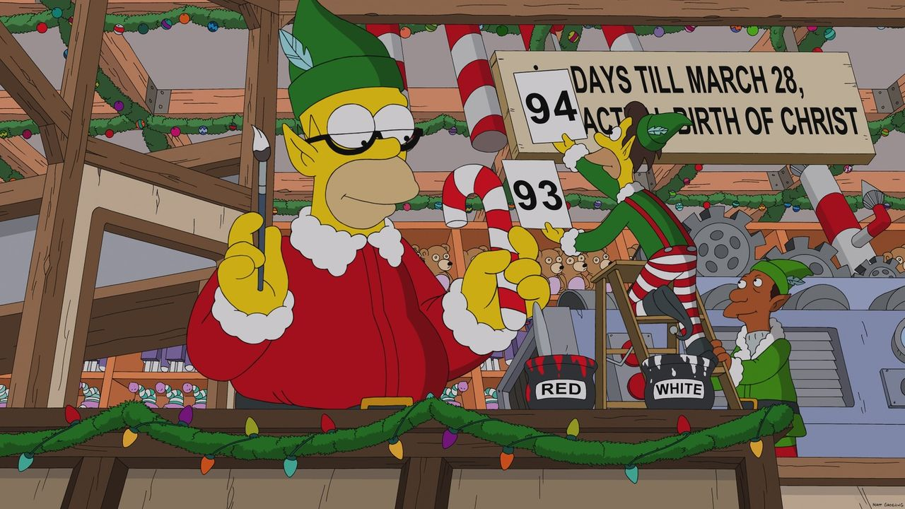 Homer Simpson (l.) hat ein paar ausgezeichnete Ideen, wie er aus dem bevorstehenden Weihnachtsfest Kapital schlagen kann ... - Bildquelle: 2013 Twentieth Century Fox Film Corporation. All rights reserved.