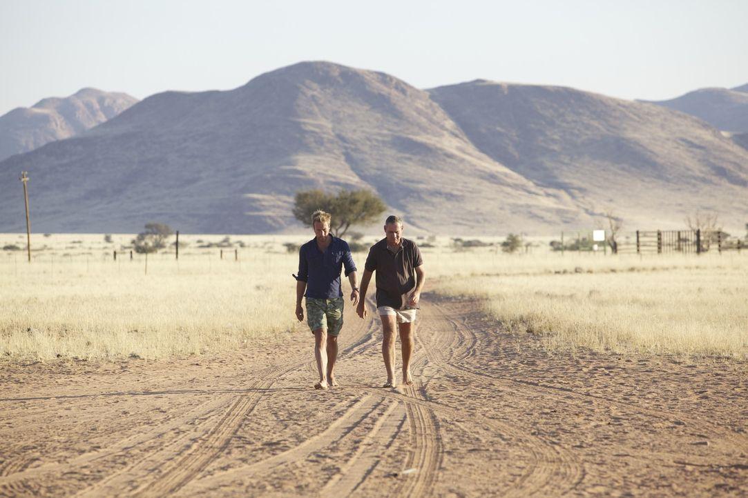 Im südafrikanischen Namibia trifft Ben Fogle (l.) auf Boesman (r.) ... - Bildquelle: Renegade Pictures
