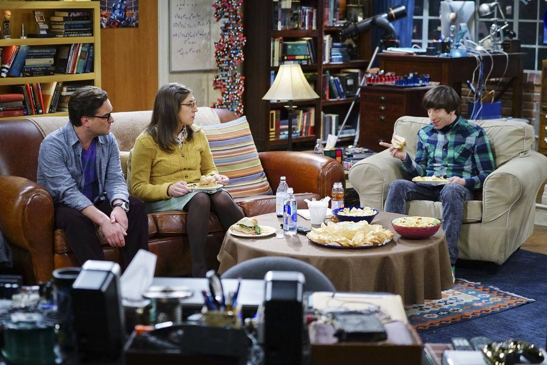 Weil Leonard (Johnny Galecki, l.) und Amy (Mayim Bialik, 2.v.l.) in einer Auseinandersetzung mit Sheldon und Penny anderer Meinung sind, wollen sie... - Bildquelle: 2016 Warner Brothers