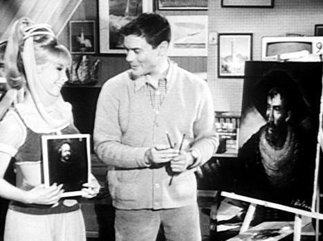 Bezaubernde Jeannie - Tony (Larry Hagman, r.) hat für eine Benefiz-Show ein B...