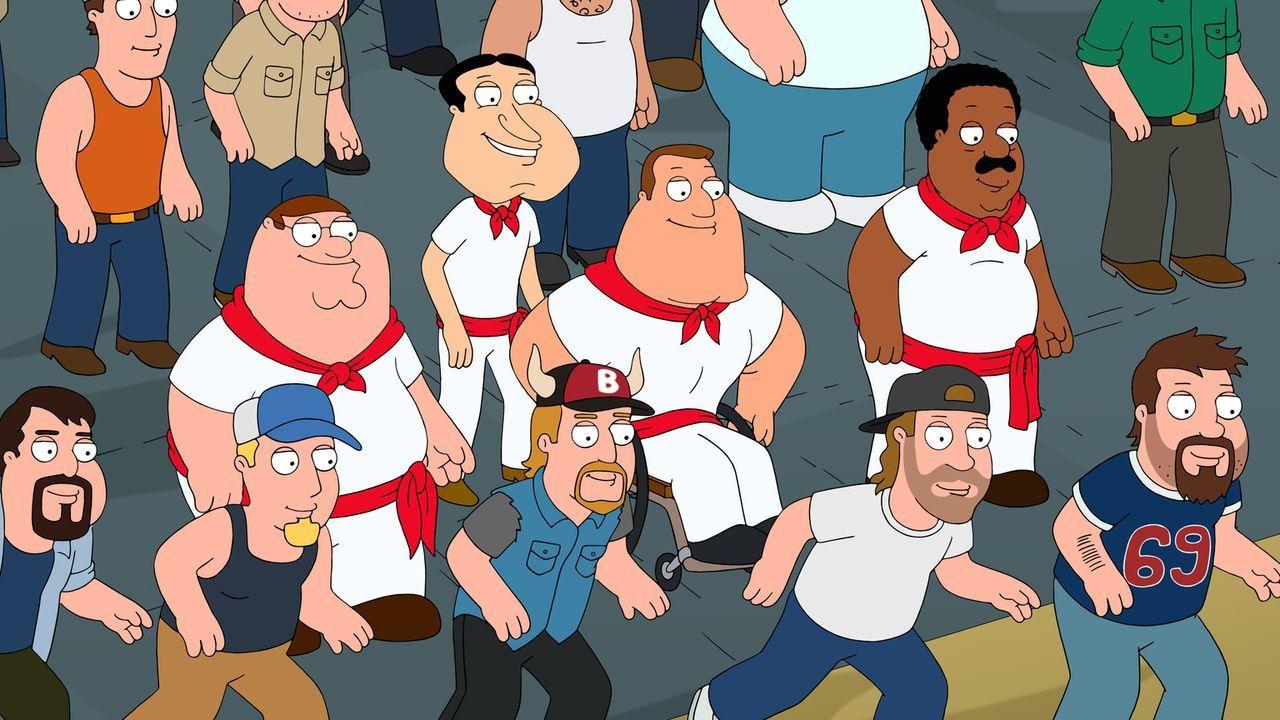 Als Peter (Mitte l.), Joe (Mitte 2.v.r.), Cleveland (Mitte r.) und Quagmire (Mitte 2.v.l.) bei einem Stierrennen mitmachen, verletzt sich Joe so sch... - Bildquelle: 2015-2016 Fox and its related entities. All rights reserved.