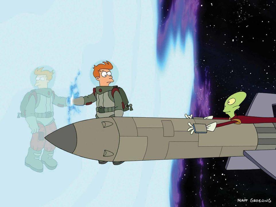 Nachdem Fry (l.) genug von seiner neuen Freundin hat, wendet er sich an Kif (r.), um die Anomalie zu untersuchen ... - Bildquelle: 2008 Twentieth Century Fox Film Corporation. All rights reserved.
