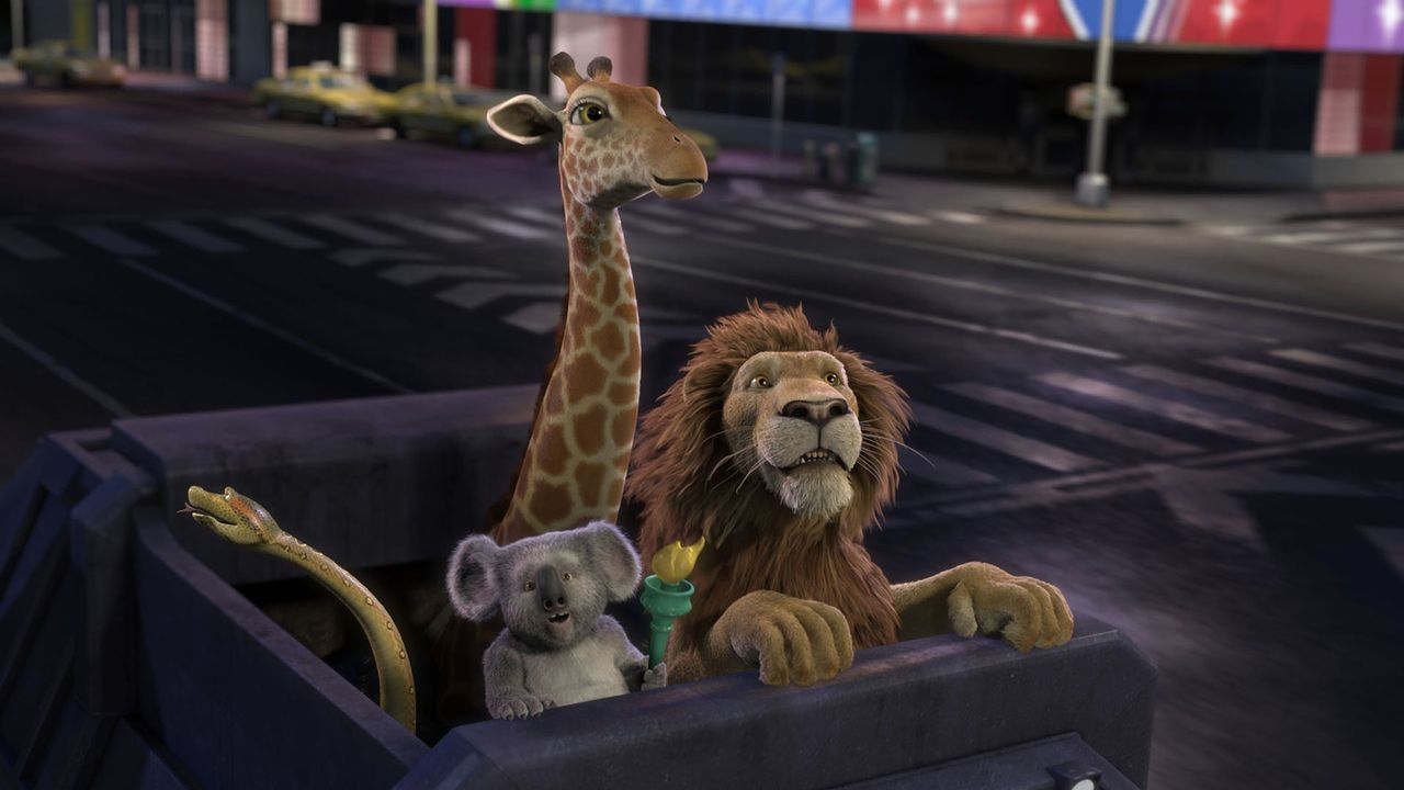 Auf der Suche nach Ryan, der genug vom New Yorker Zoo und seinem prahlerischen Vater hatte: Koala Nigel (2.v.l.), Giraffe Bridget (2.v.r.), Löwe Sam... - Bildquelle: Disney Enterprises, Inc.  All rights reserved