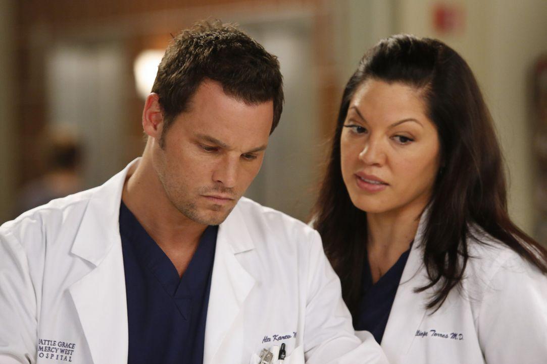 Unterstützen Arizona bei ihrem ersten Arbeitstag nach dem schweren Unglück: Callie (Sara Ramirez, r.) und Alex (Justin Chambers, l.) ... - Bildquelle: ABC Studios