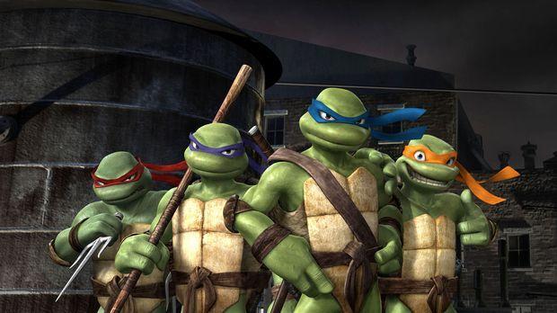 Im Kampf gegen das Böse bestehen Leonardo, der Anführer (3. v. l.), Donatello...