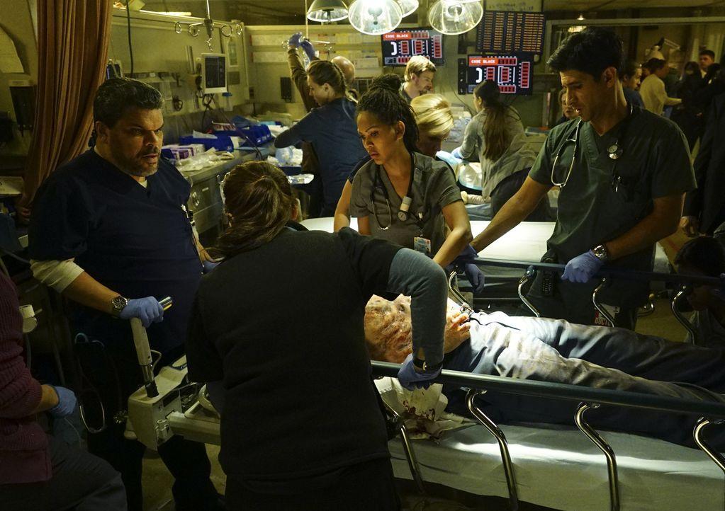 Ein Wettlauf auf Leben und Tod beginnt: Jesse (Luis Guzman, l.), Leanne (Marcia Gay Harden, 2.v.l.) Grace (Meagan Good, 2.v.r.) und Neal (Raza Jaffr... - Bildquelle: Richard Cartwright 2015 ABC Studios