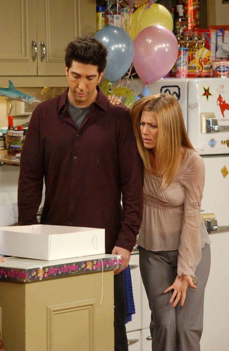 Ross (David Schwimmer, l.) und Rachel (Jennifer Aniston, r.) sind entsetzt, als sie Emmas Geburtstagstorte sehen ... - Bildquelle: 2003 Warner Brothers International Television