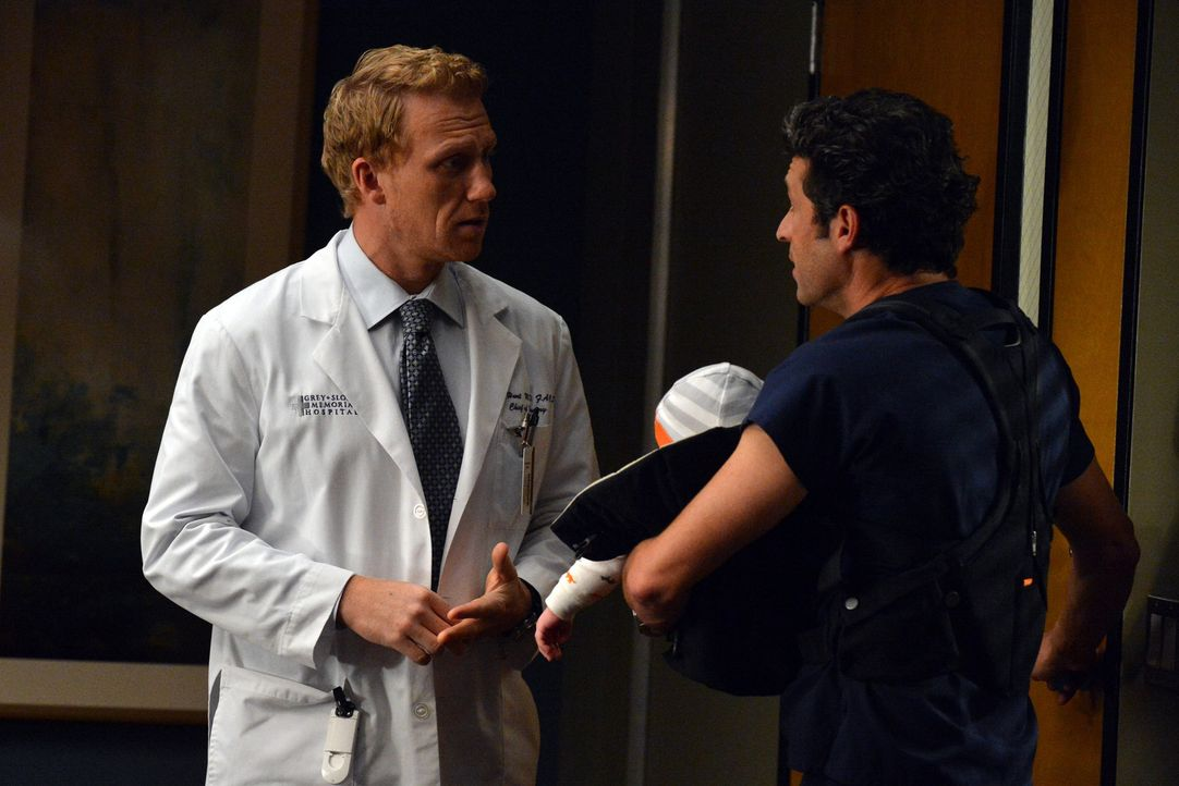 Als Owen (Kevin McKidd, l.) und Derek (Patrick Dempsey, r.) ein Bobenangebot des Präsidenten erhalten, gerät Dereks Vorsatz, zukünftig mehr Zeit für... - Bildquelle: ABC Studios