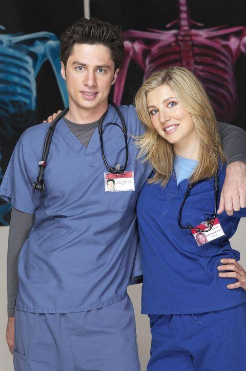 (2. Staffel) - Gemeinsam machen sich J.D. (Zach Braff, l.) und Elliot (Sarah Chalke, r.) daran, den unberechenbaren Krankenhausalltag zu meistern ... - Bildquelle: Touchstone Television