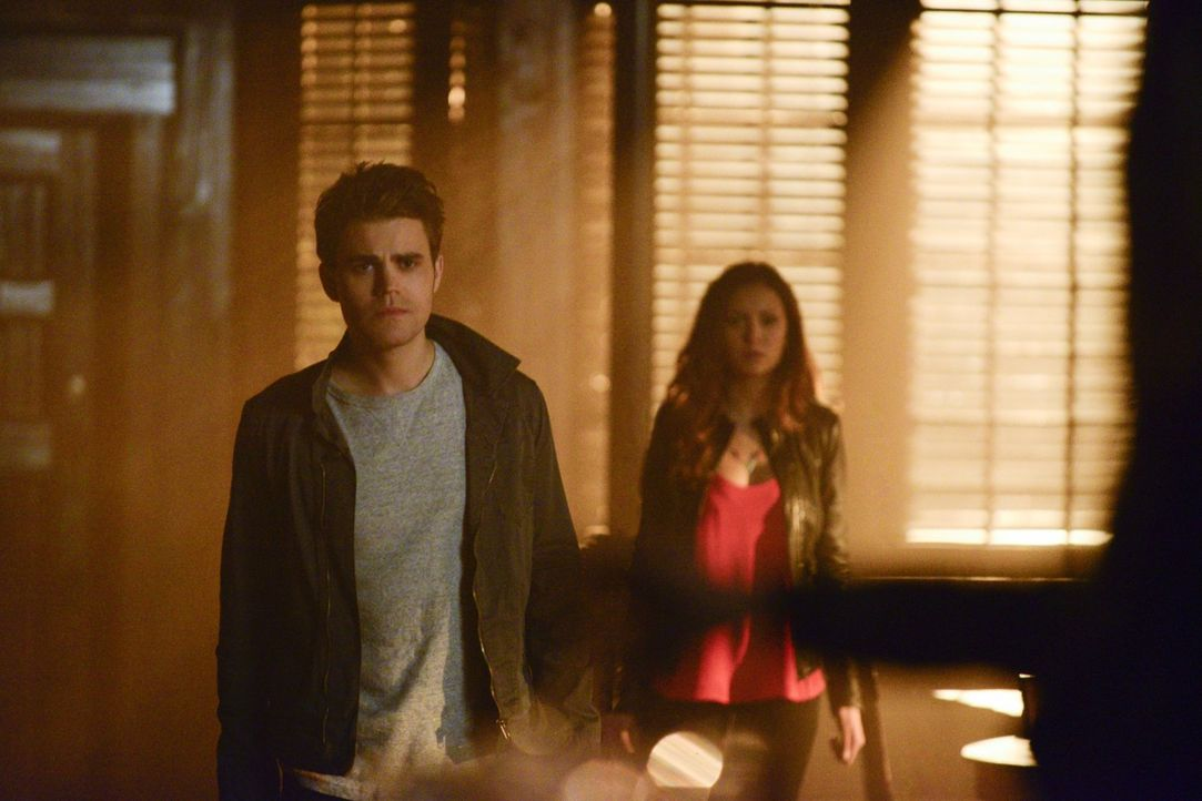 Während Stefan (Paul Wesley, l.) und Elena (Nina Dobrev, r.) versuchen, Caroline von schlimmen Fehlern zu bewahren, sucht Damon nach Informationen ü... - Bildquelle: Warner Bros. Entertainment, Inc