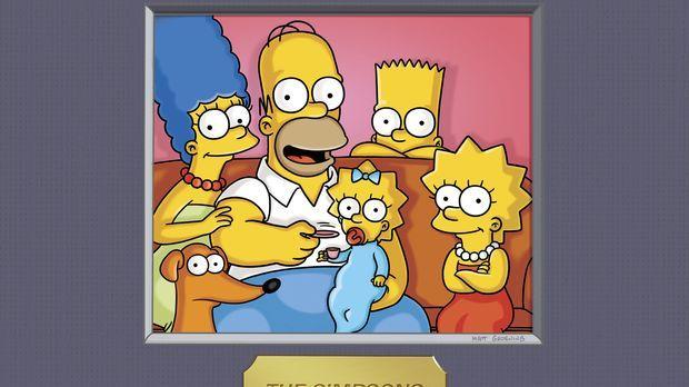 (23. Staffel) - Die Simpsons: Maggie (3.v.l.), Marge (l.), Homer (2.v.l.), Ba...