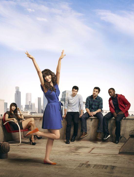 (1. Staffel) - Jess (Zooey Deschanel, 2.v.l.) trennt sich von ihrem untreuen Freund und zieht in eine Männer-WG. Mit ihren drei neuen Mitbewohnern S... - Bildquelle: 20th Century Fox