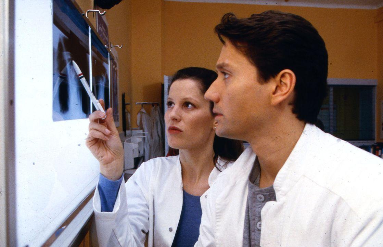 Dr. Jasmin Erbach (Heidrun Gärtner, l.) zeigt Dr. Kampmann (Ulrich Reinthaller, r.) die Röntgenbilder von Nico. - Bildquelle: Krajewsky Sat.1