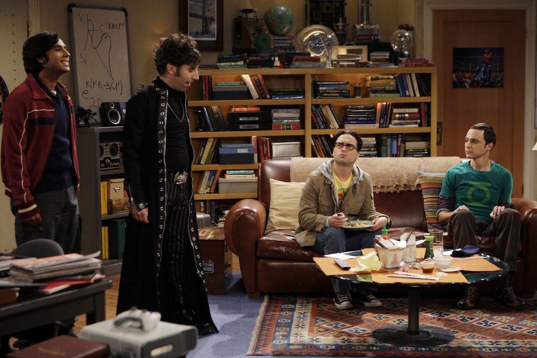 Leonard (Johnny Galecki, 2.v.r.) und Sheldon (Jim Parsons, r.), sind völlig verdutzt als Howard (Simon Helberg, 2.v.l.) und Raj (Kunal Nayyar, l.)... - Bildquelle: Warner Bros. Television