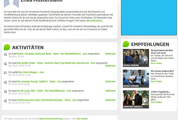 Der Profil-Bereich bei sixx.de