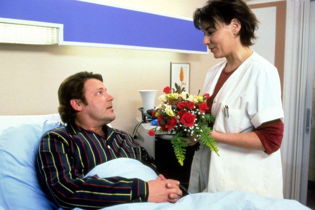Krankengymnastin Claudia (Andrea Solter, r.) hat sich unsterblich in den Architekten Elmar Ott (Walter Plathe, l.) verliebt, der wegen eines verdeck... - Bildquelle: Noreen Flynn Sat.1