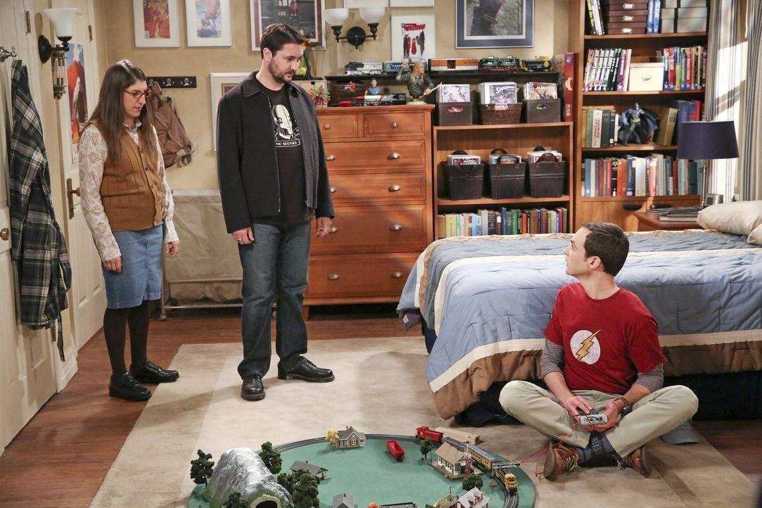 Während Raj bei Bernadette und Howard wohnt und eine Ehekrise hervorruft, versuchen Amy (Mayim Bialik, l.) und Will Wheaton (Will Wheaton, M.), Shel... - Bildquelle: Warner Brothers
