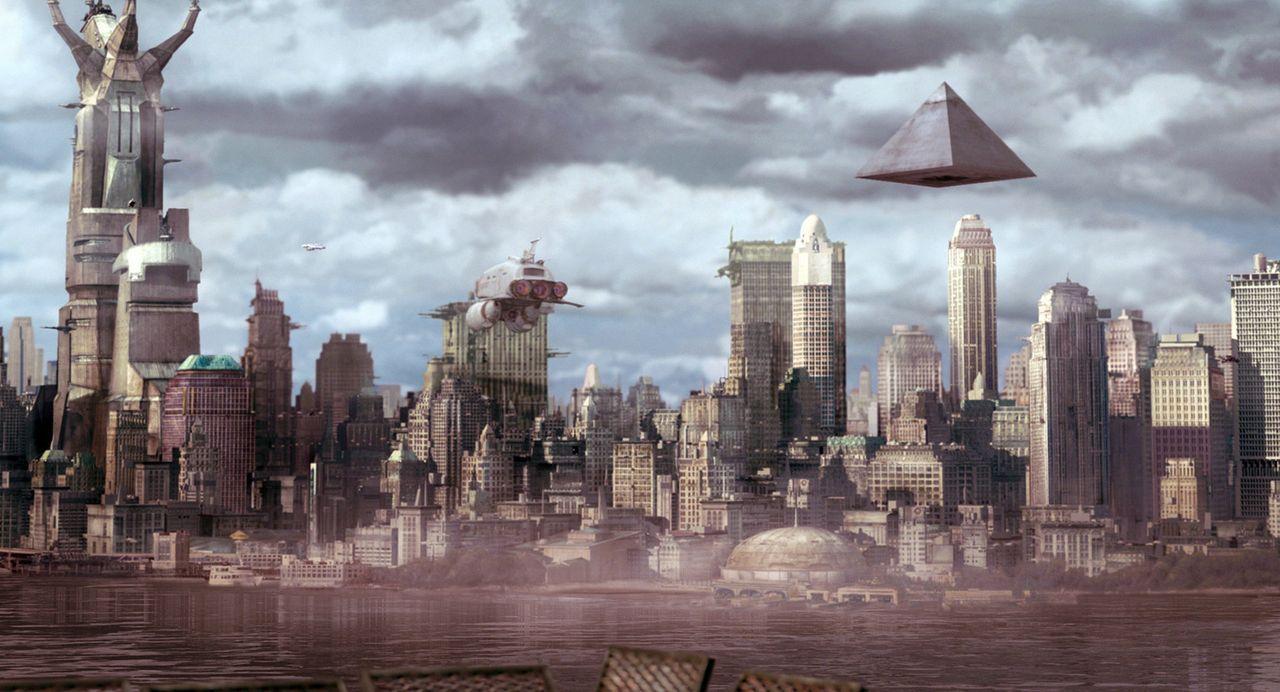 In geheimer Mission mit einer großen High-Tech-Pyramide über dem New York unterwegs: die ägyptischen Götter Anubis, Bastet und Horus ... - Bildquelle: TF1 Films Productions