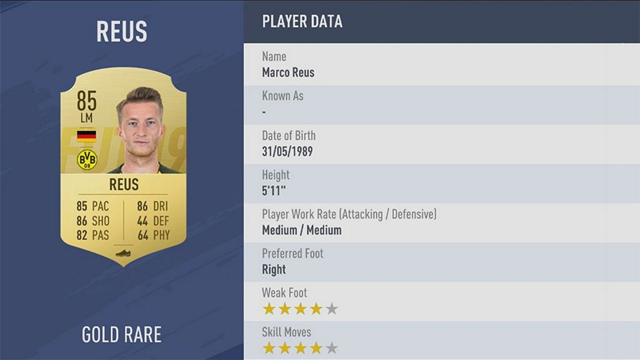 Marco Reus - Rating: 85 - Bildquelle: EA Sports