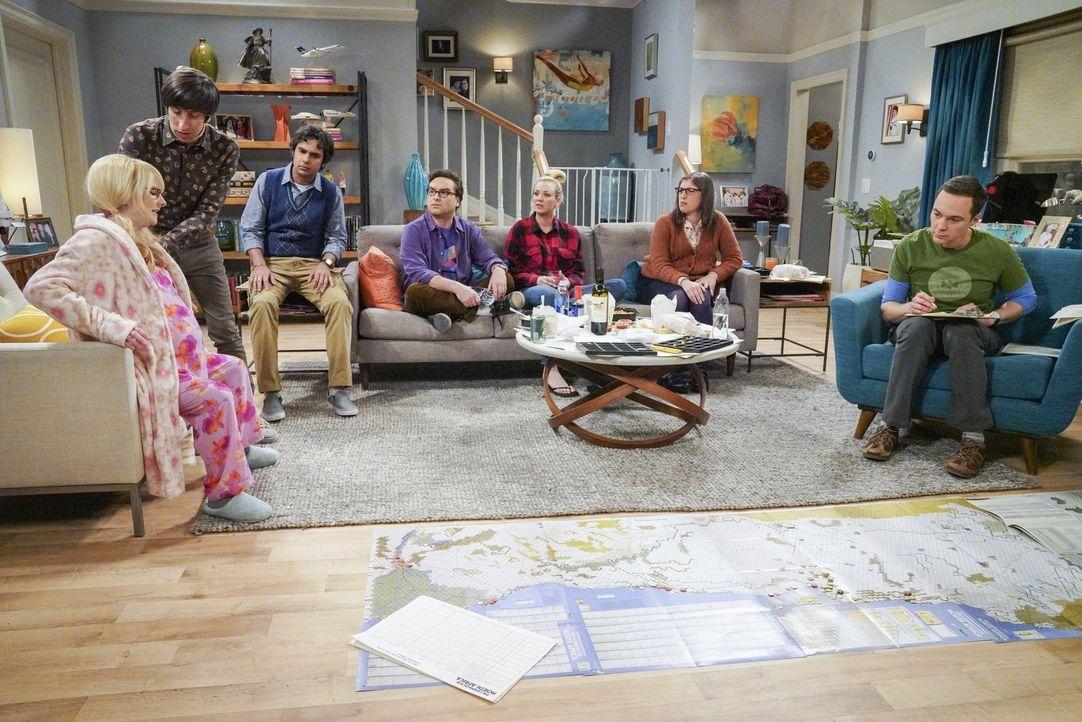 Sind alle damit beschäftigt, einen Weg zu finden, damit das Baby endlich kommt: (v.l.n.r.) Bernadette (Melissa Rauch), Howard (Simon Helberg), Raj (... - Bildquelle: Warner Bros. Television