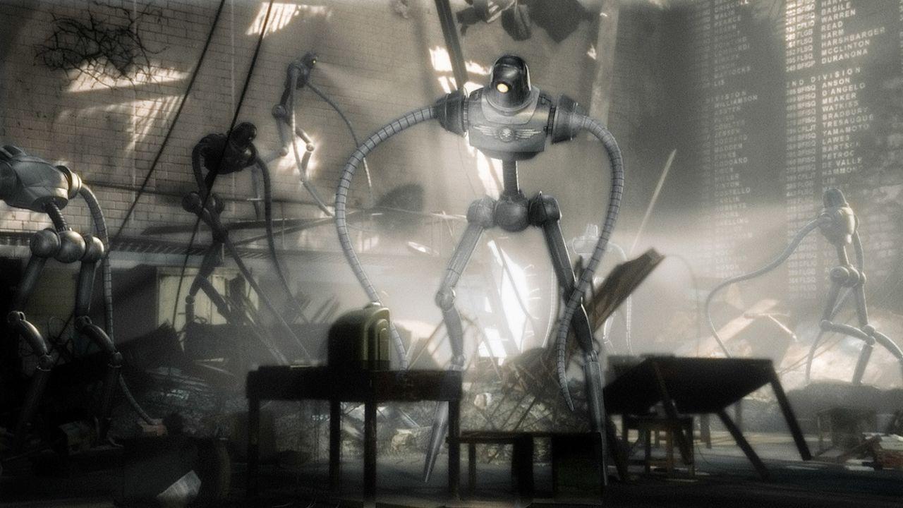 In letzter Minute gelingt es Sky Captain, Polly vor den mörderischen Robotern des berüchtigten Dr. Totenkopf (Laurence Olivier), der die Weltherrsch... - Bildquelle: TM & Copyright   Brooklyn Films II And Filmauro S.R.L.