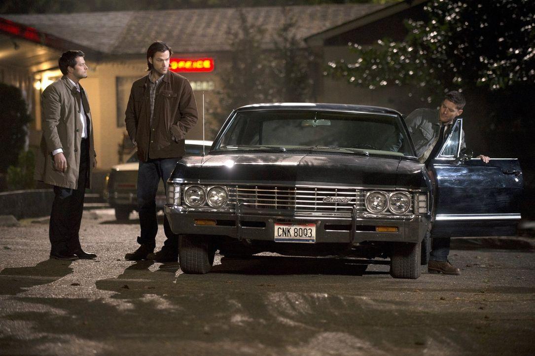 Nachdem Castiel (Misha Collins, l.) den Schauplatz eines Massakers an Engeln gefunden hat, sucht er Rat bei Sam (Jared Padalecki, M.) und Dean (Jens... - Bildquelle: 2013 Warner Brothers